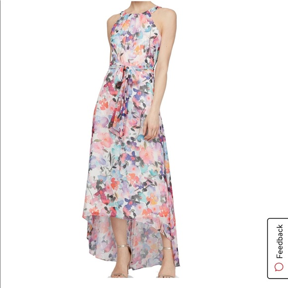 SLNY Floral Halter High Low Maxi Dress with tie